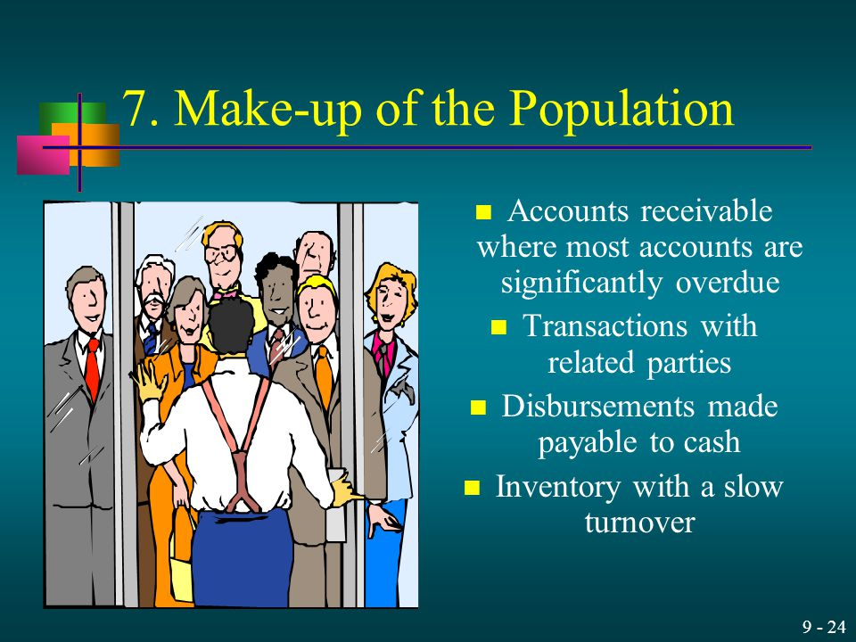 9 - 24 7. Make-up of the Population Accounts receivable where most accounts are significantly overdue Transactions with related parties Disbursements