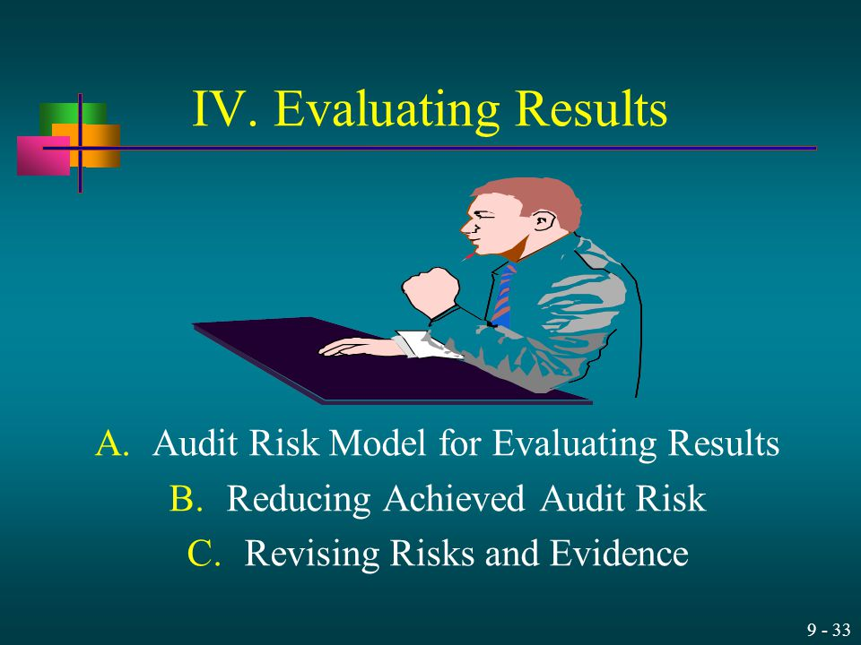 9 - 33 IV. Evaluating Results A.Audit Risk Model for Evaluating Results B.Reducing Achieved Audit Risk C.Revising Risks and Evidence