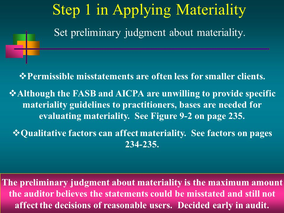 9 - 4 Step 1 in Applying Materiality Set preliminary judgment about materiality. The preliminary judgment about materiality is the maximum amount the
