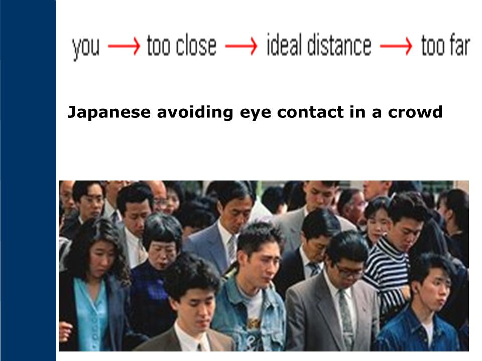 Japanese avoiding eye contact in a crowd