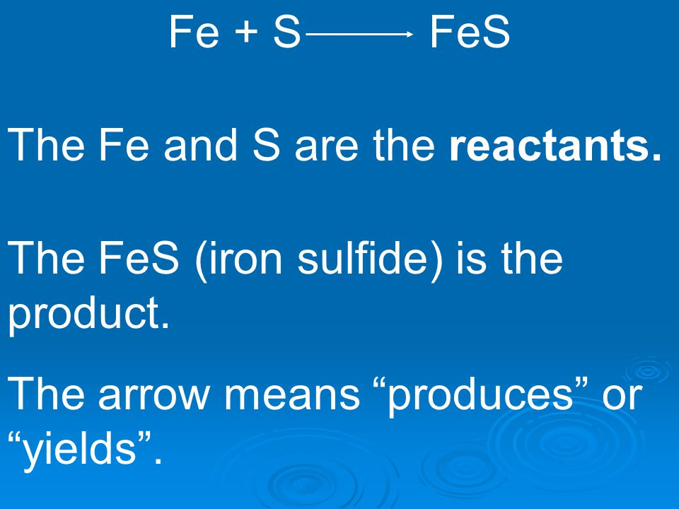 "The Fe and S are the reactants. Fe + S FeS The FeS (iron sulfide) is the product. The arrow means ""produces"" or ""yields""."