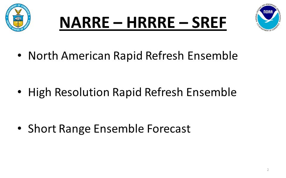 NARRE – HRRRE – SREF A Brief Briefing History 9 April 2009MMB UCAR Review in backup slides 24 April 2009Briefing for Berchoff & Tuell 5 December 2009NCEP Production Suite Review a multitude of times by me and/or Stan since then 28 March 2013NWS AA 8 April 2013Synergy (NCEP ctrs & NWS regions) 6 December 2013NCEP Production Suite Review 3