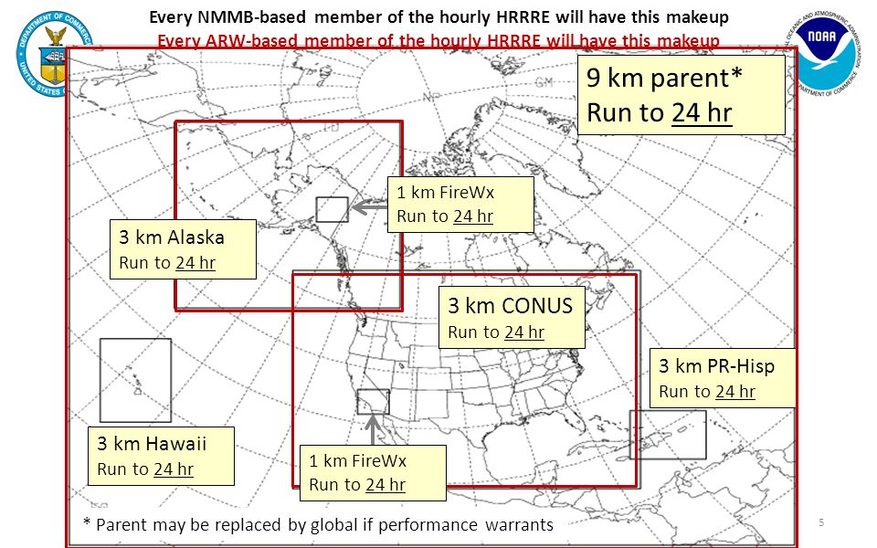 Every NMMB-based member of SREF (extensions of HRRRE members) will have this makeup Every ARW-based member of SREF (extensions of HRRRE members) will have this makeup 3 km CONUS Run from 24 to 60 hr 6 9 km parent* Run from 24 to 84 hr 3 km Hawaii Run from 24 to 60 hr 3 km PR-Hisp Run from 24 to 60 hr 3 km Alaska Run from 24 to 60 hr 1 km FireWx Run from 24 to 36 hr 1 km FireWx Run from 24 to 36 hr * Parent may be replaced by global if performance warrants