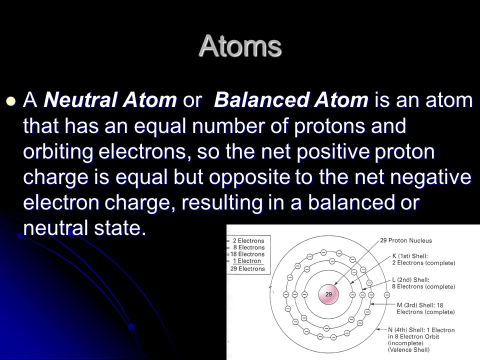 Atoms A Neutral Atom or Balanced Atom is an atom that has an equal number of protons and orbiting electrons, so the net positive proton charge is equal but opposite to the net negative electron charge, resulting in a balanced or neutral state.