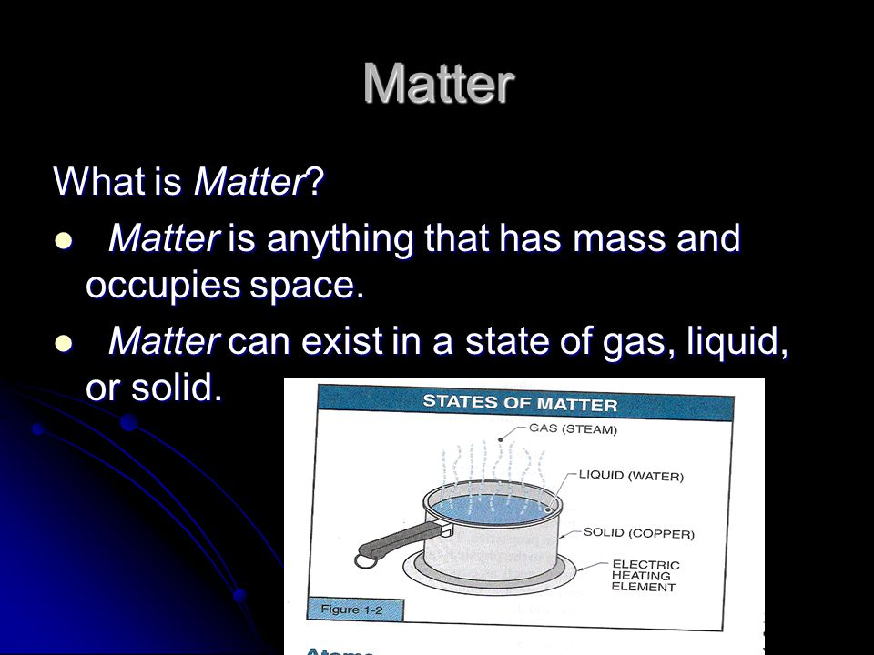 Matter What is Matter. Matter is anything that has mass and occupies space.