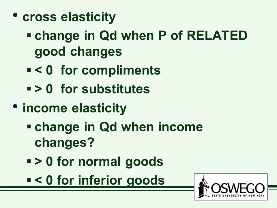 cross elasticity  change in Qd when P of RELATED good changes  < 0 for compliments  > 0 for substitutes income elasticity  change in Qd when income changes.