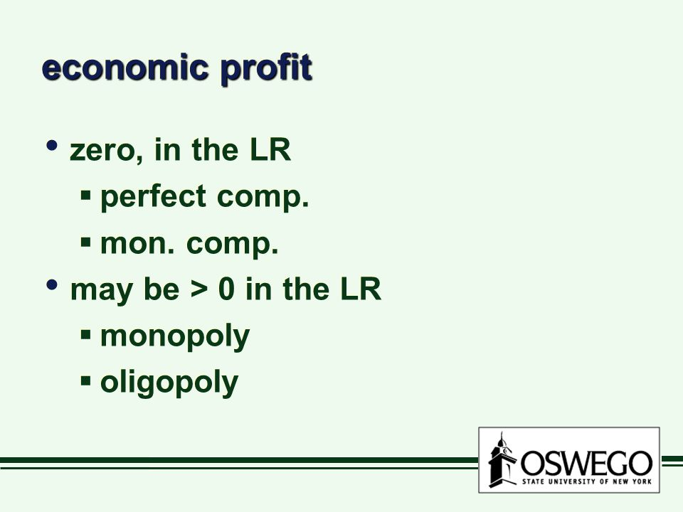 economic profit zero, in the LR  perfect comp. mon.