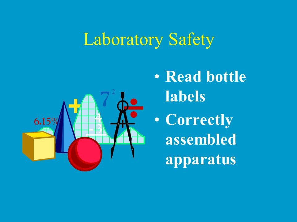 Laboratory Safety Read bottle labels Correctly assembled apparatus
