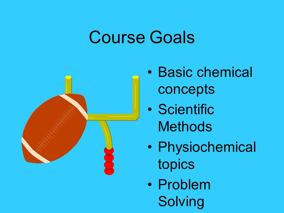 Course Goals Basic chemical concepts Scientific Methods Physiochemical topics Problem Solving
