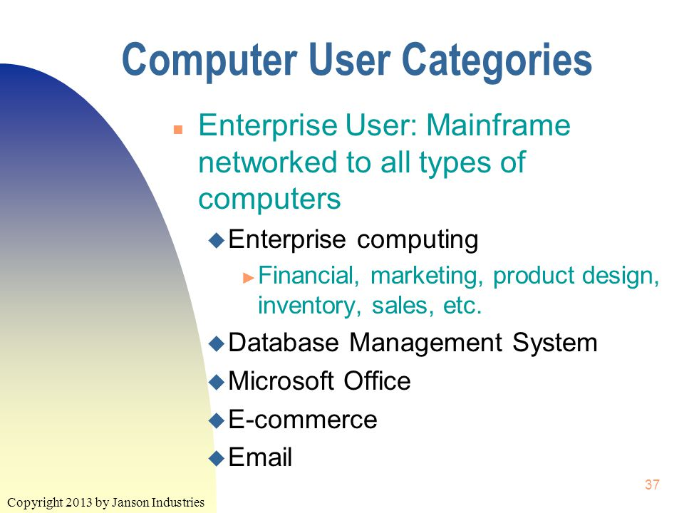 Copyright 2013 by Janson Industries 37 Computer User Categories n Enterprise User: Mainframe networked to all types of computers u Enterprise computing ► Financial, marketing, product design, inventory, sales, etc.
