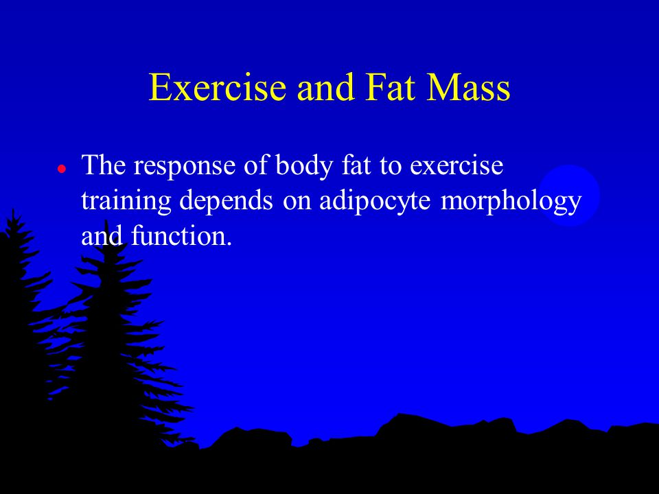 Exercise and Fat Mass l The response of body fat to exercise training depends on adipocyte morphology and function.