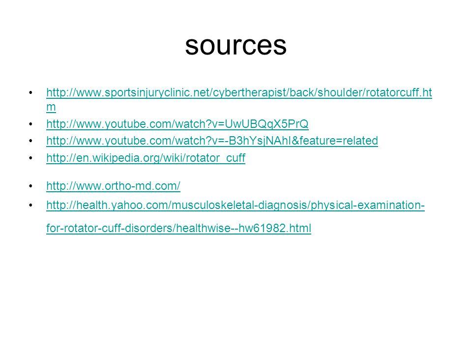 sources http://www.sportsinjuryclinic.net/cybertherapist/back/shoulder/rotatorcuff.ht mhttp://www.sportsinjuryclinic.net/cybertherapist/back/shoulder/