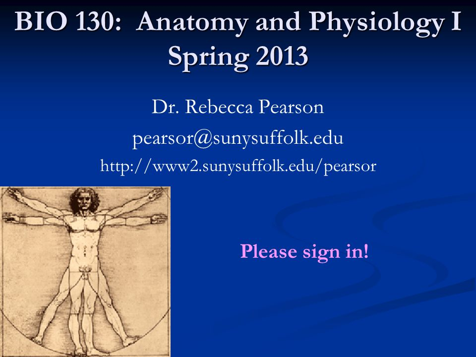 Website Necessary and helpful materials for this course can be found on the course website: www2.sunysuffolk.edu/pearsor Lecture Schedule Lecture notes (powerpoint slides) Terminology assignments Sample exam questions Links to Chris Pickens' website for: Laboratory Histology Animations www2.sunysuffolk.edu/pickenc Laboratory schedule Laboratory Homework assignments (for my lab only)