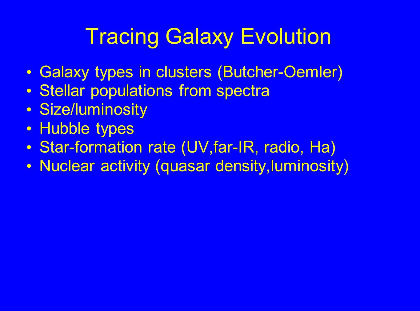 Tracing Galaxy Evolution Galaxy types in clusters (Butcher-Oemler) Stellar populations from spectra Size/luminosity Hubble types Star-formation rate (UV,far-IR, radio, Ha) Nuclear activity (quasar density,luminosity)