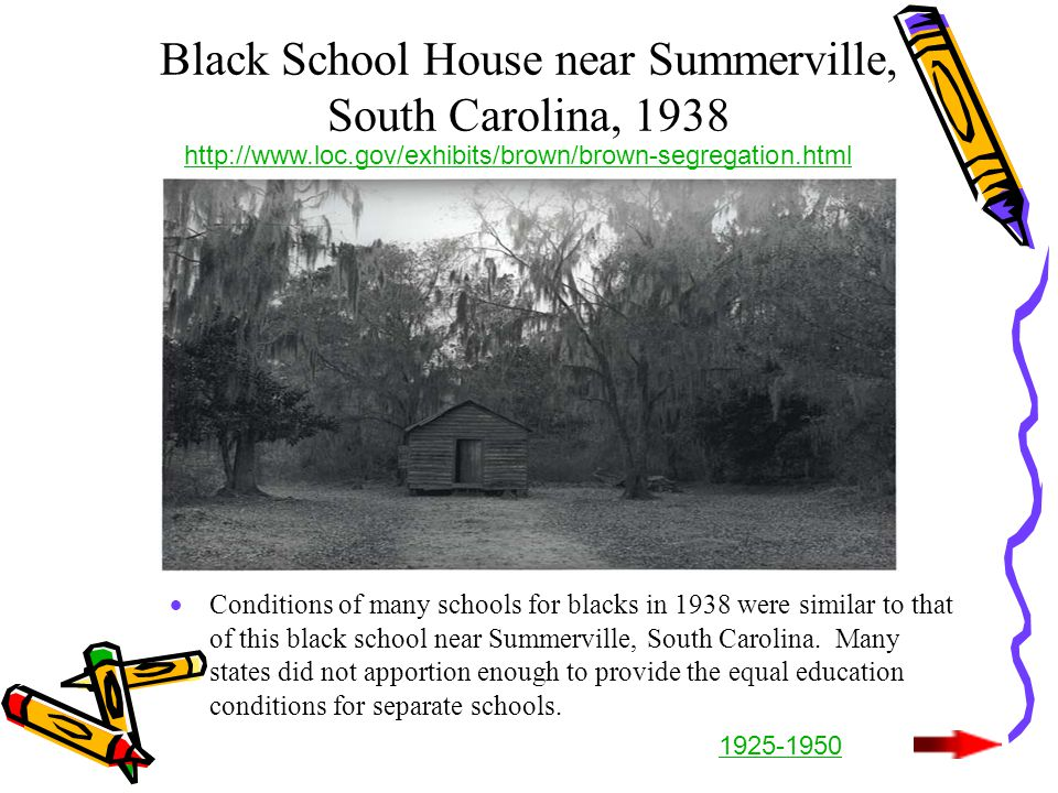 Black School House near Summerville, South Carolina, 1938  Conditions of many schools for blacks in 1938 were similar to that of this black school near Summerville, South Carolina.