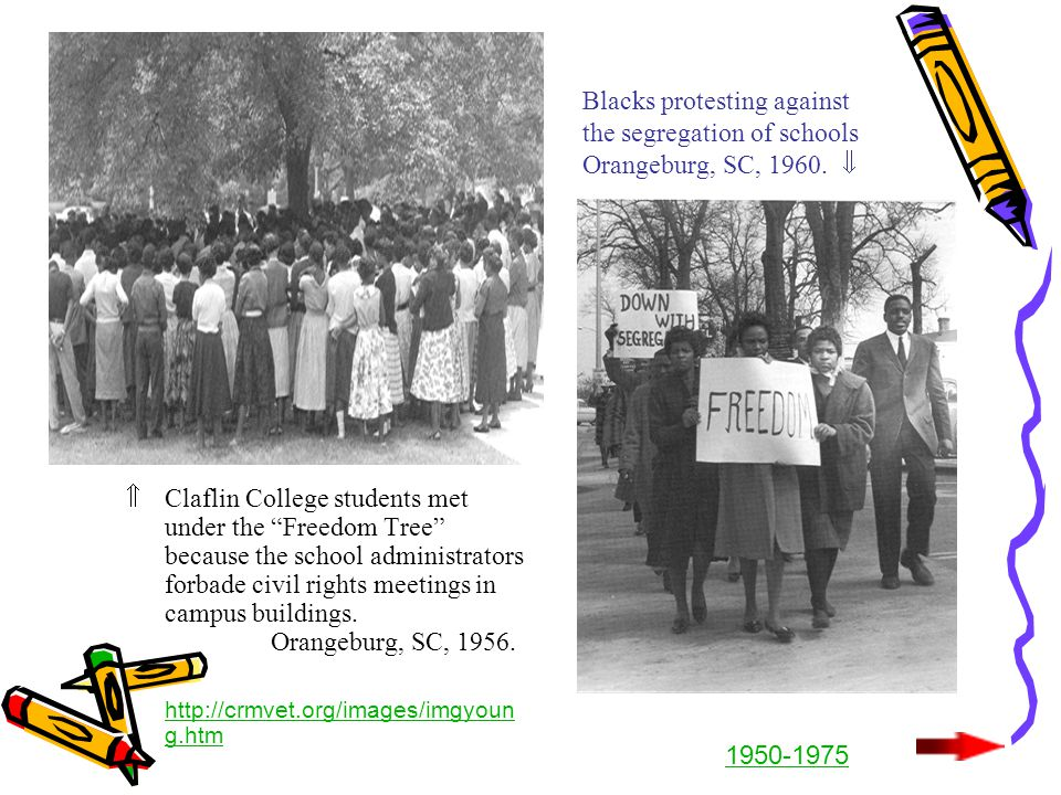 "Blacks protesting against the segregation of schools Orangeburg, SC, 1960.   Claflin College students met under the ""Freedom Tree"" because the schoo"