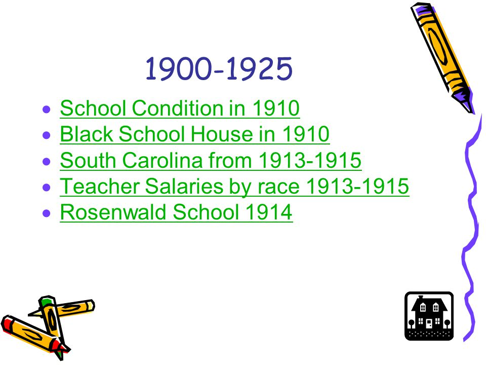 School Condition in 1910 http://northbysouth.kenyon.edu/1998/edu/toomanykids.htm http://northbysouth.kenyon.edu/1998/edu/toomanykids.htm  This picture taken in 1910 represents the biggest obstacle for black teachers at the time— school overcrowding.