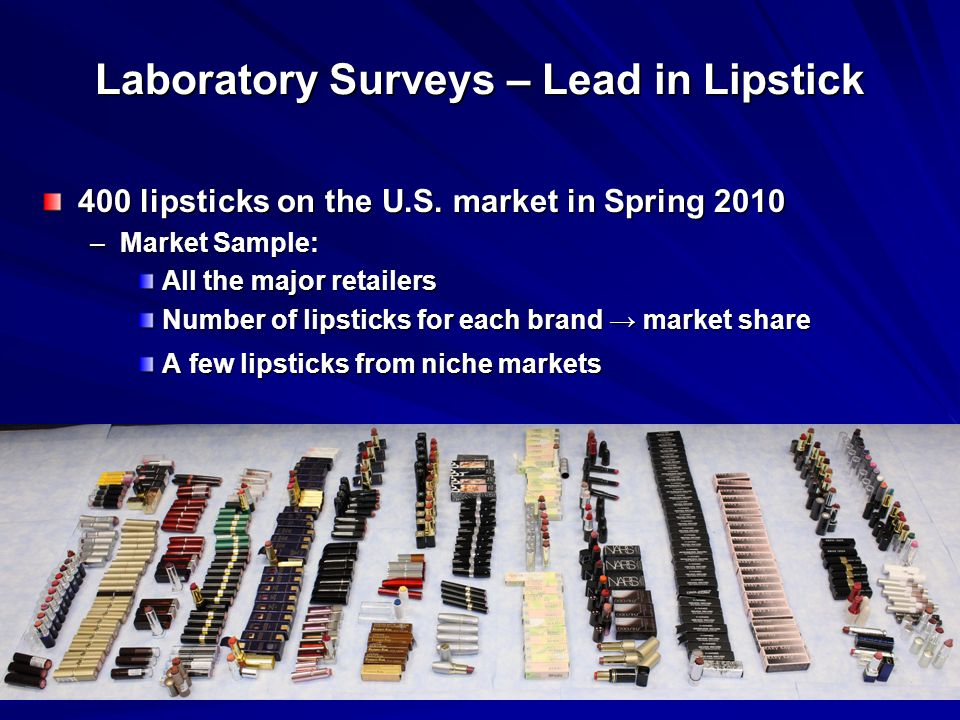 Laboratory Surveys – Lead in Lipstick 400 lipsticks on the U.S.
