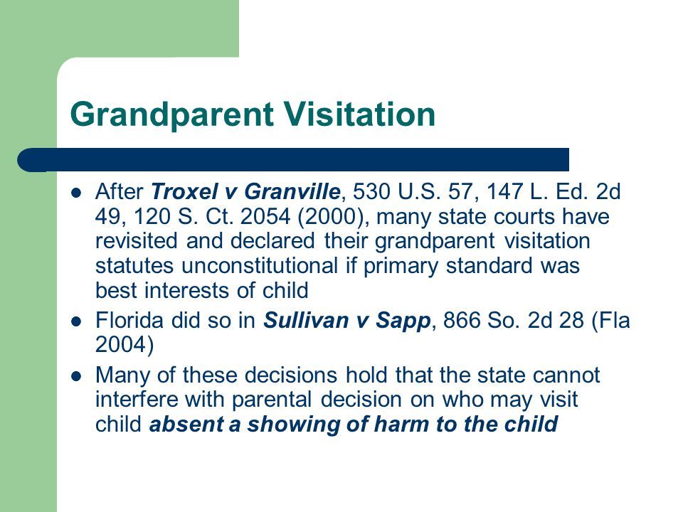Grandparent Visitation After Troxel v Granville, 530 U.S.