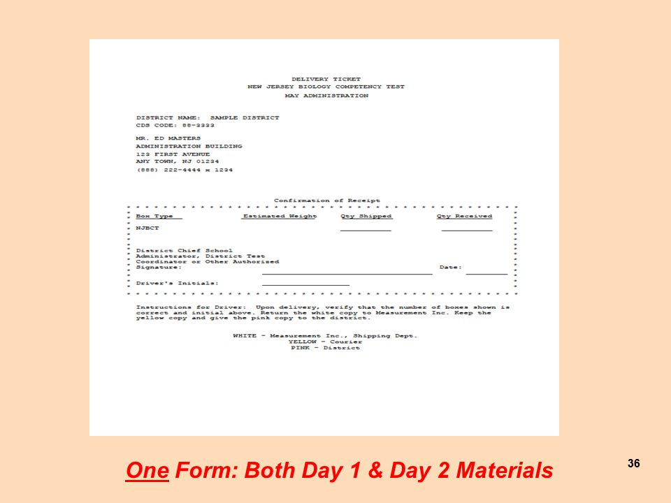 36 One Form: Both Day 1 & Day 2 Materials