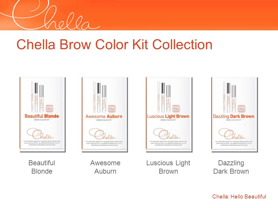 Chella: Hello Beautiful Chella Brow Color Kit Collection Beautiful Blonde Awesome Auburn Luscious Light Brown Dazzling Dark Brown