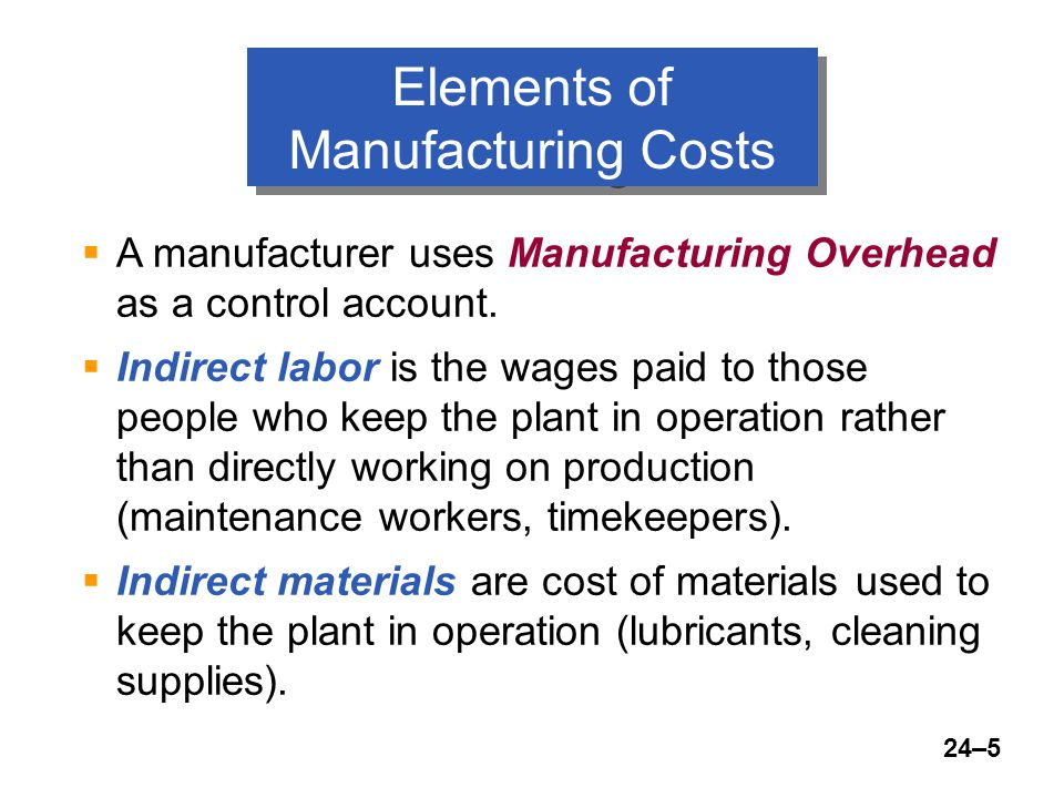 24–5  A manufacturer uses Manufacturing Overhead as a control account.