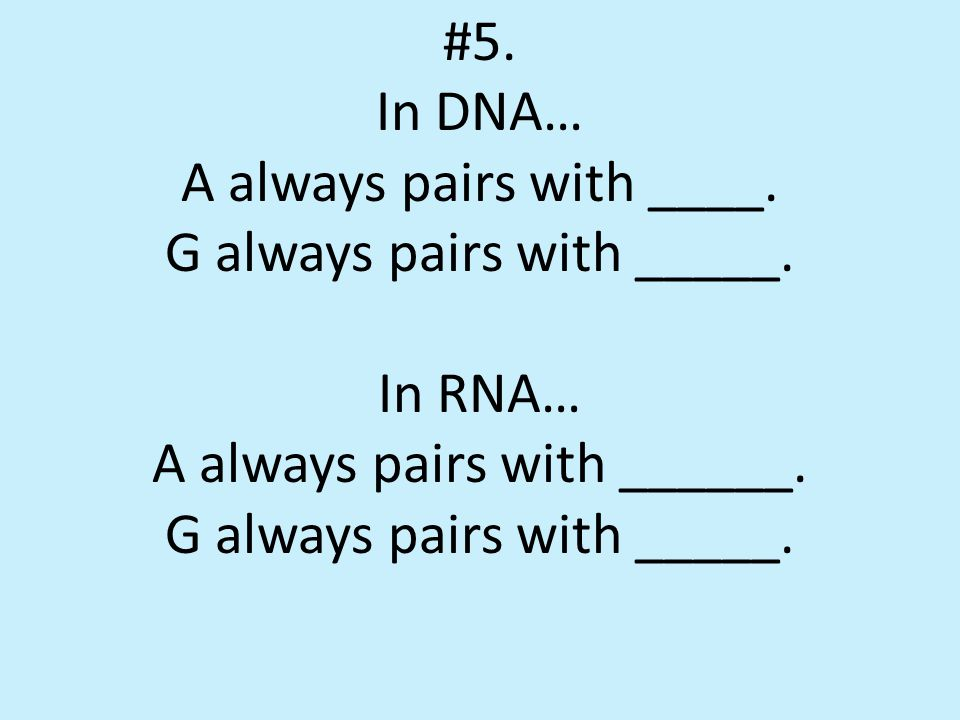 #5.In DNA… A always pairs with _T___. G always pairs with __C___.