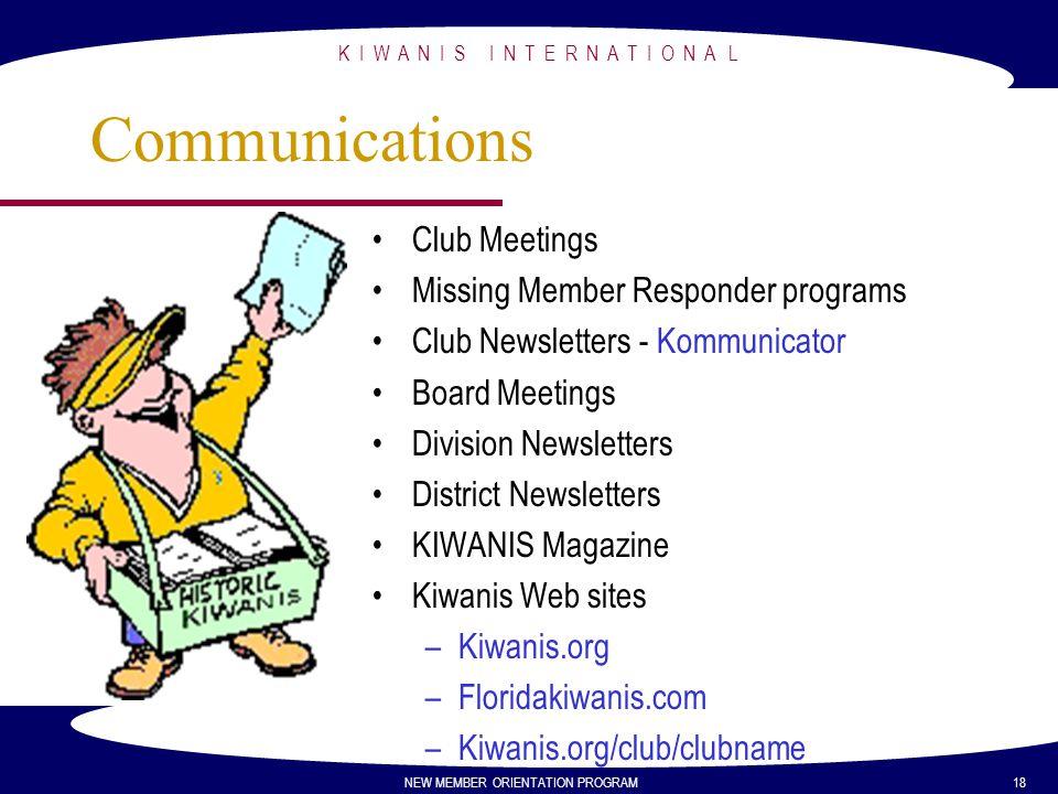 K I W A N I S I N T E R N A T I O N A L NEW MEMBER ORIENTATION PROGRAM 18 Communications Club Meetings Missing Member Responder programs Club Newslett
