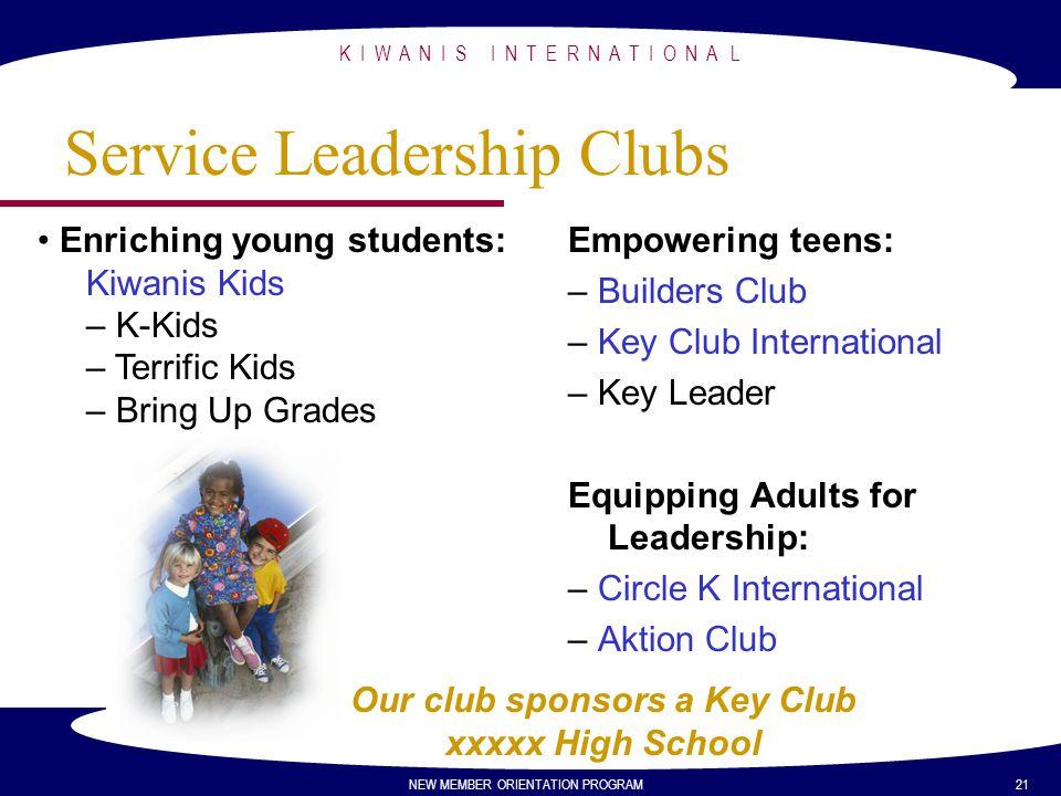K I W A N I S I N T E R N A T I O N A L NEW MEMBER ORIENTATION PROGRAM 21 Service Leadership Clubs Empowering teens: – Builders Club – Key Club Intern