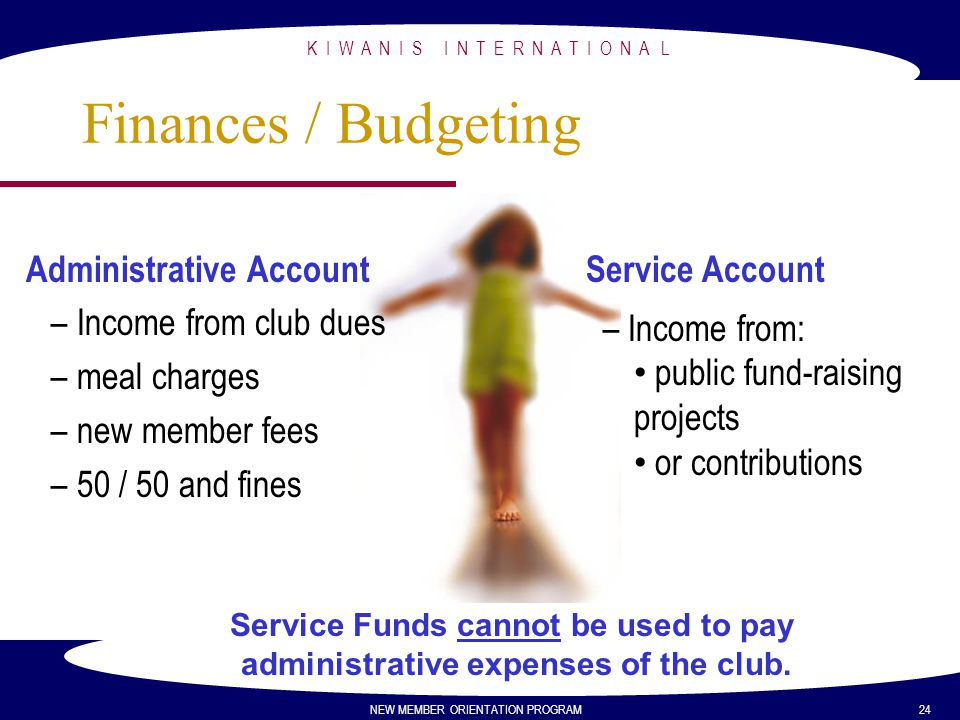 K I W A N I S I N T E R N A T I O N A L NEW MEMBER ORIENTATION PROGRAM 24 Finances / Budgeting Administrative Account – Income from club dues – meal c