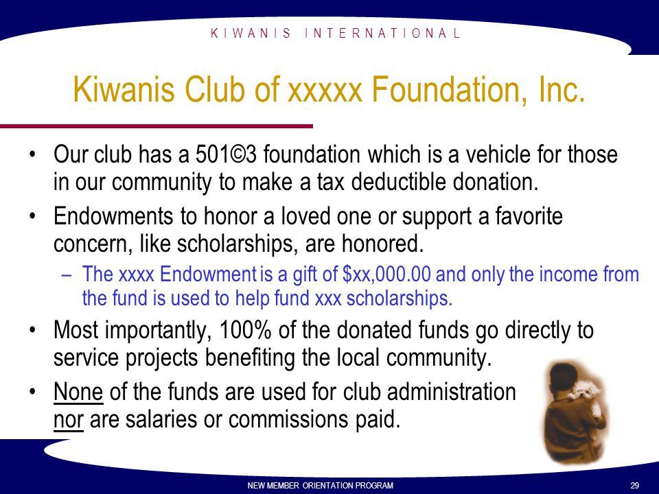 K I W A N I S I N T E R N A T I O N A L NEW MEMBER ORIENTATION PROGRAM 29 Kiwanis Club of xxxxx Foundation, Inc. Our club has a 501©3 foundation which