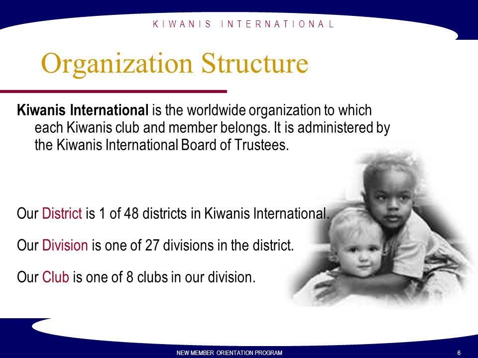 K I W A N I S I N T E R N A T I O N A L NEW MEMBER ORIENTATION PROGRAM 6 Organization Structure Kiwanis International is the worldwide organization to
