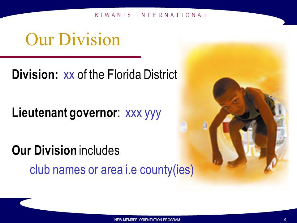 K I W A N I S I N T E R N A T I O N A L NEW MEMBER ORIENTATION PROGRAM 9 Our Division Division: xx of the Florida District Lieutenant governor : xxx y