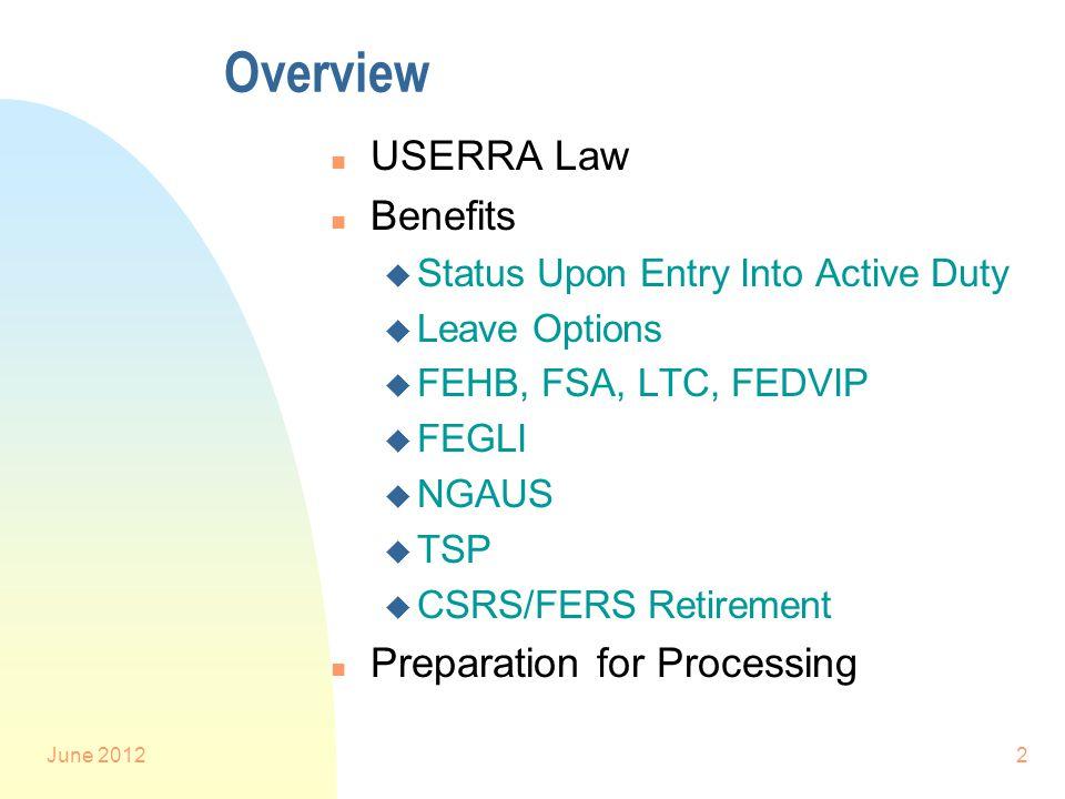June 20122 Overview n USERRA Law n Benefits u Status Upon Entry Into Active Duty u Leave Options u FEHB, FSA, LTC, FEDVIP u FEGLI u NGAUS u TSP u CSRS/FERS Retirement n Preparation for Processing