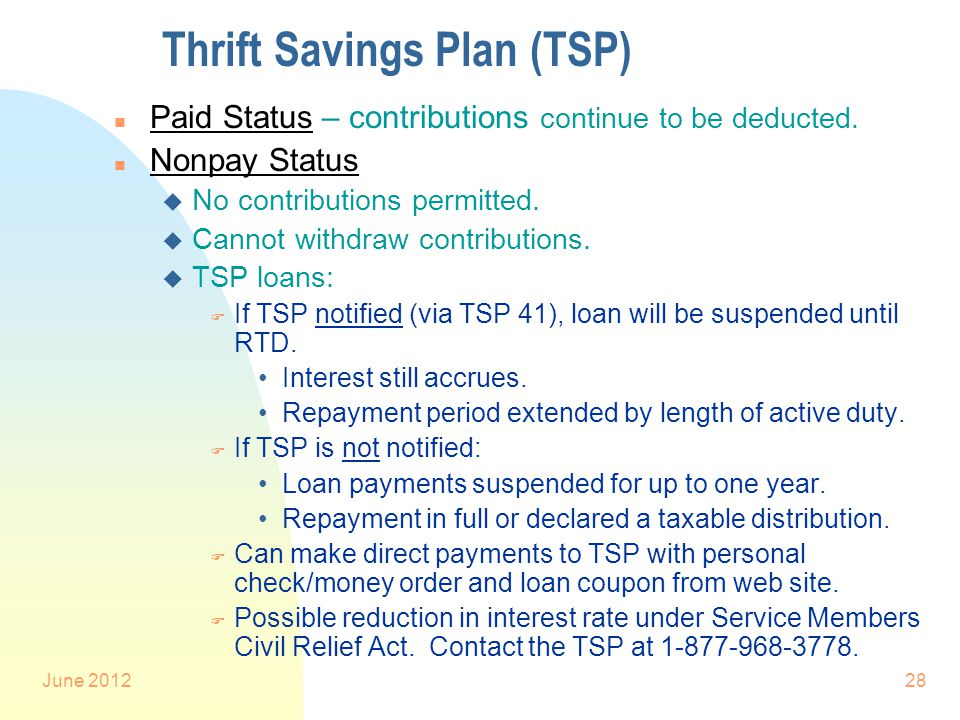 June 201228 Thrift Savings Plan (TSP) n Paid Status – contributions continue to be deducted.