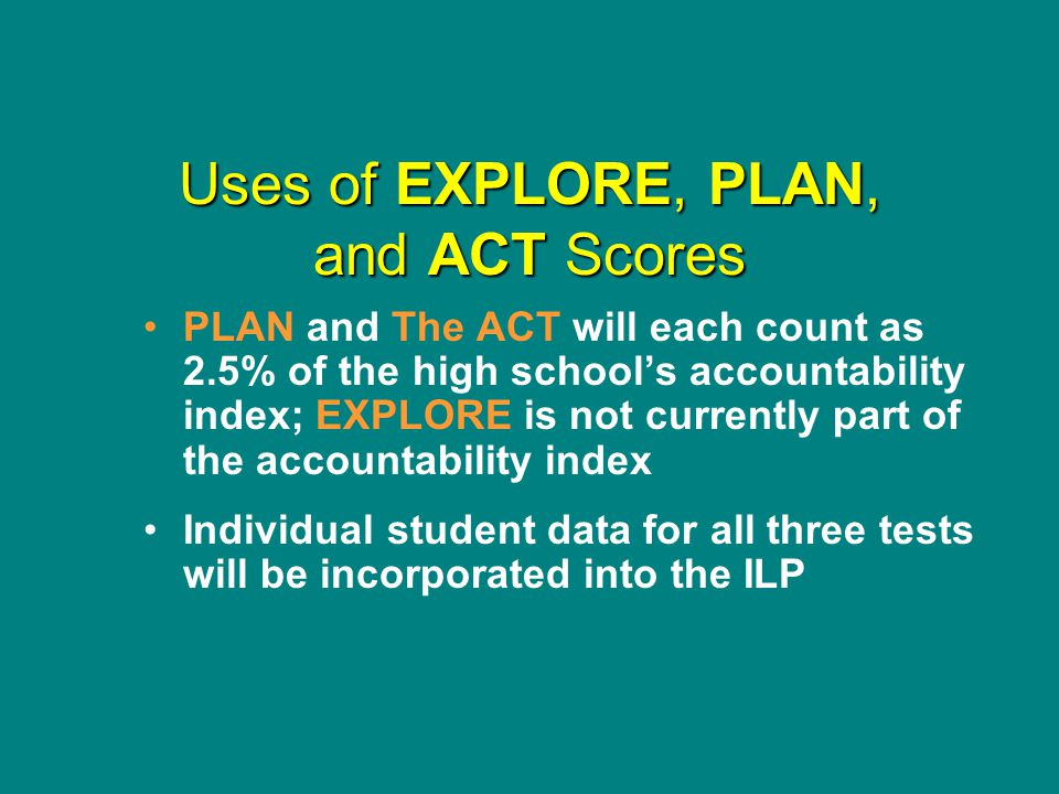 Uses of EXPLORE, PLAN, and ACT Scores PLAN and The ACT will each count as 2.5% of the high school's accountability index; EXPLORE is not currently part of the accountability index Individual student data for all three tests will be incorporated into the ILP