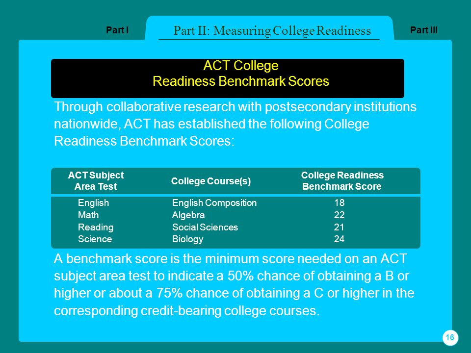 ACT College Readiness Benchmark Scores Through collaborative research with postsecondary institutions nationwide, ACT has established the following College Readiness Benchmark Scores: A benchmark score is the minimum score needed on an ACT subject area test to indicate a 50% chance of obtaining a B or higher or about a 75% chance of obtaining a C or higher in the corresponding credit-bearing college courses.