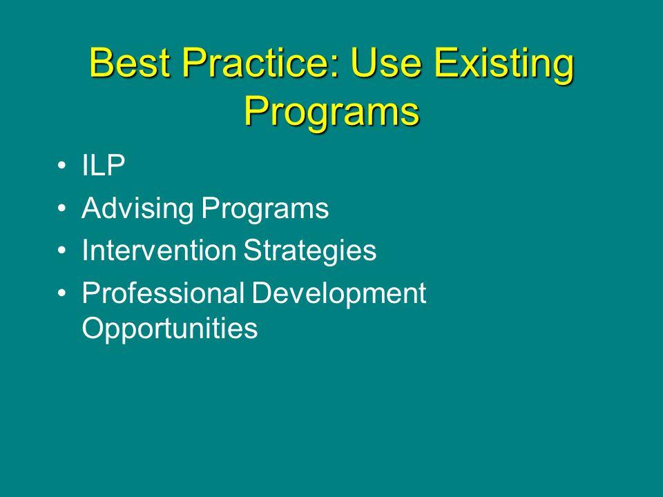 Best Practice: Use Existing Programs ILP Advising Programs Intervention Strategies Professional Development Opportunities