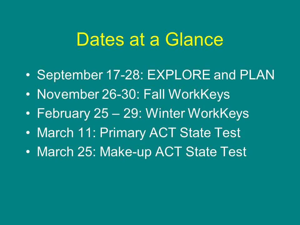 Dates at a Glance September 17-28: EXPLORE and PLAN November 26-30: Fall WorkKeys February 25 – 29: Winter WorkKeys March 11: Primary ACT State Test March 25: Make-up ACT State Test