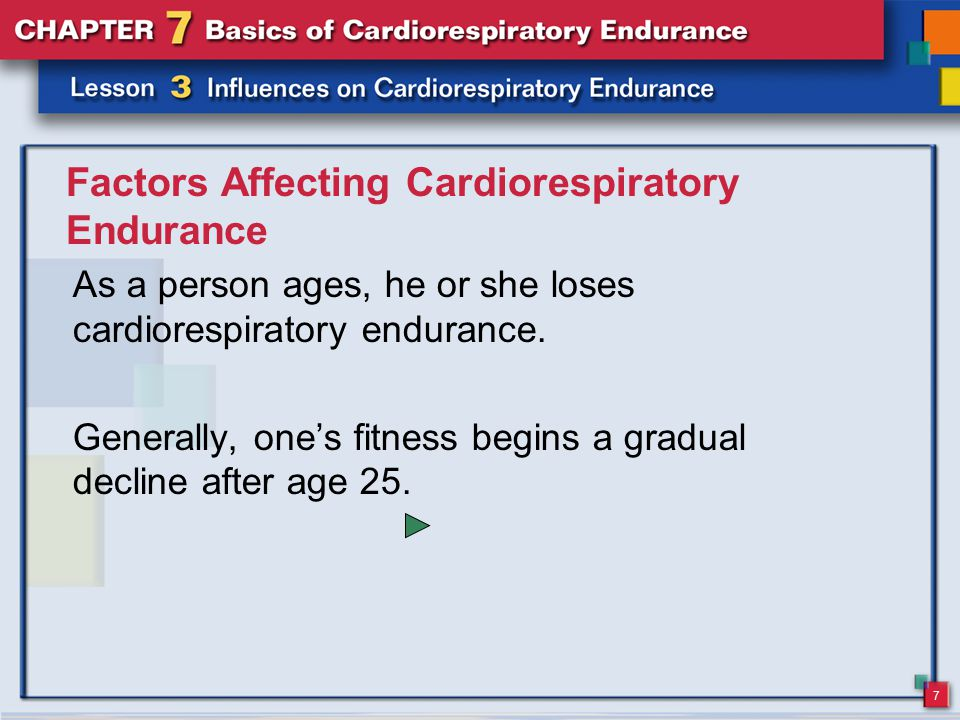 7 Factors Affecting Cardiorespiratory Endurance As a person ages, he or she loses cardiorespiratory endurance.