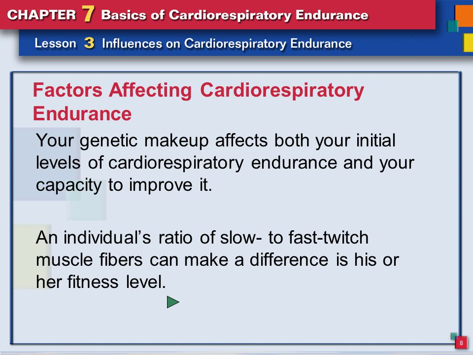 9 Factors Affecting Cardiorespiratory Endurance Found in higher proportion in long-distance runners, slow- twitch muscle fibers are associated with greater muscle endurance and an increased ability to do aerobic work.