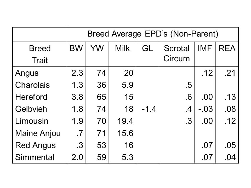 Breed Average EPD's (Non-Parent) Breed Trait BWYWMilkGLScrotal Circum IMFREA Angus Charolais Hereford Gelbvieh Limousin Maine Anjou Red Angus Simmental 2.3 1.3 3.8 1.8 1.9.7.3 2.0 74 36 65 74 70 71 53 59 20 5.9 15 18 19.4 15.6 16 5.3 -1.4.5.6.4.3.12.00 -.03.00.07.21.13.08.12.05.04