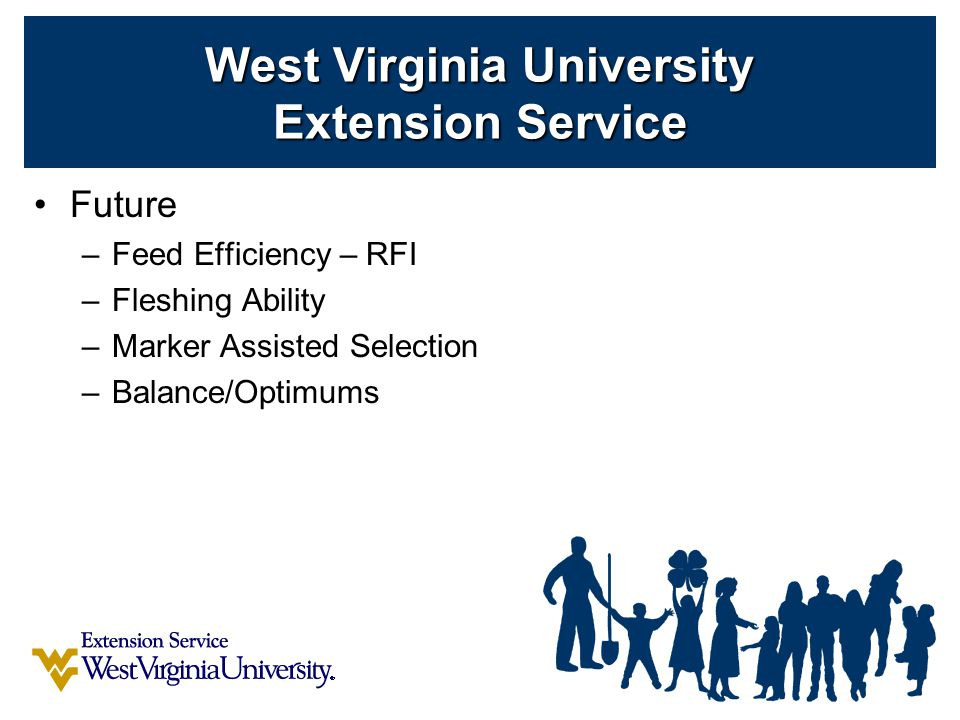 Future –Feed Efficiency – RFI –Fleshing Ability –Marker Assisted Selection –Balance/Optimums West Virginia University Extension Service