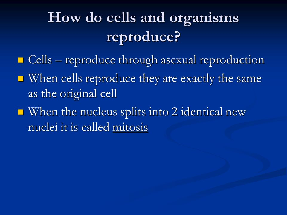 How do cells and organisms reproduce.