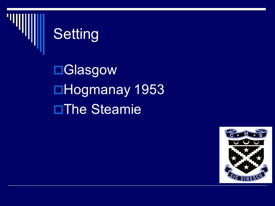 Setting  Glasgow  Hogmanay 1953  The Steamie