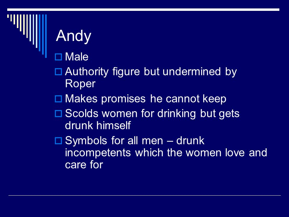 Andy  Male  Authority figure but undermined by Roper  Makes promises he cannot keep  Scolds women for drinking but gets drunk himself  Symbols fo
