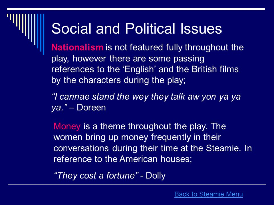 Social and Political Issues Nationalism is not featured fully throughout the play, however there are some passing references to the 'English' and the