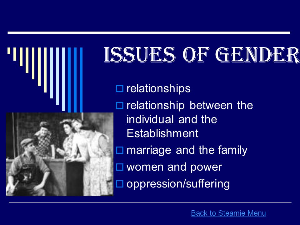 Issues Of Gender In Back to Steamie Menu  relationships  relationship between the individual and the Establishment  marriage and the family  women and power  oppression/suffering