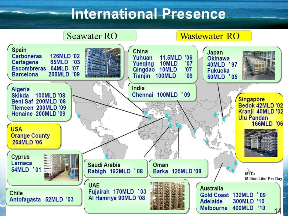 5 International Presence 5 Seawater RO Wastewater RO