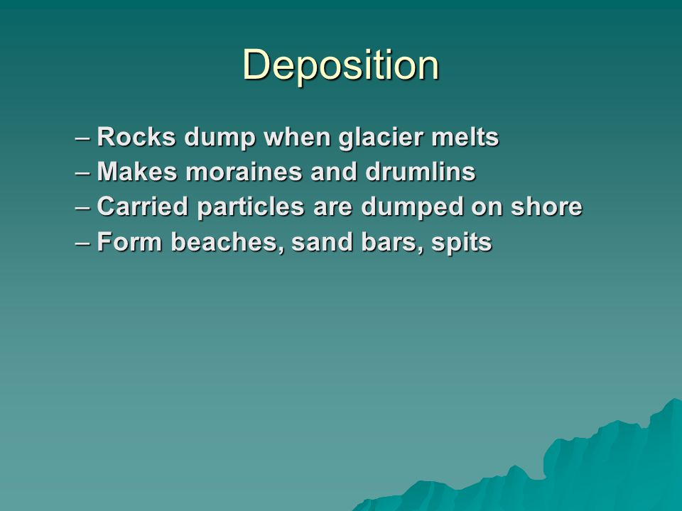 Deposition –Rocks dump when glacier melts –Makes moraines and drumlins –Carried particles are dumped on shore –Form beaches, sand bars, spits